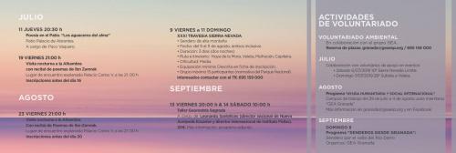 Programa de actividades de verano: julio, agosto y septiembre.